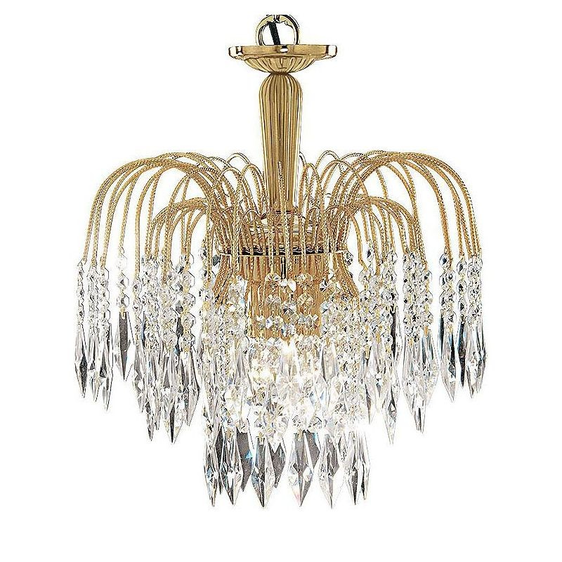 Waterfall gold plated finish shower crystal ceiling light