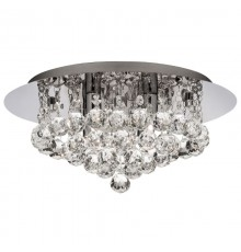 Hanna flush ceiling light in chrome with crystal trimmings